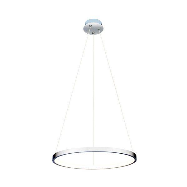 Lustra suspendata LED cu un inel crom